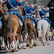 A horseback parade outside the Royal Palace, Stockholm, Sweden