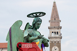 After two months of restoration, the Statue of Archangel Michael, made of copper plate, returned to Piran. The image shows the Statue of Archangel Michael and St. George's Parish Church, on October 15, 2018 in Piran, Slovenia. Photo by Matic Klansek Velej / Sportida