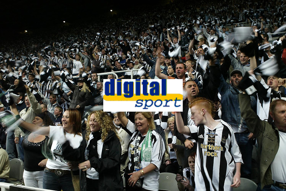 Photo: Andrew Unwin.<br /> Newcastle United v Glasgow Celtic. Alan Shearer Testimonial. 11/05/2006.<br /> Newcastle fans wave their black and white scarves in support of their team.