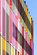 Coloured glass fins of Oxford University Biochemistry Building, Oxford, UK. Architects: Hawkins Brown, Built 2008