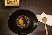 Egg on Egg on Egg (sea urchin and white sturgeon caviar on a bed of scrambled egg) at SakaMai.