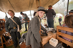 © London News Pictures. 08/04/2012. South Okendon, UK.  Cousins Bailey Haskett aged 10 (left) and Kiri Haskett, aged 11 (right) dressed as Confederate soldiers  before taking part in a reenactment of the final days of the American Cival war at Belhus Wood Country Park near South Okenden, Essex on April 8, 2012. The American Civil war was ended on April 9 (Tomorrow), 1865 when the  Confederate surrendered to the Union. Photo credit :  Ben Cawthra/LNP
