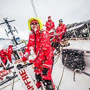Leg 6 to Auckland, day 06 on board MAPFRE, Tamara Echegoyen laughing because the OBR is getting wet before her taking the picture. 12 February, 2018.