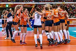 15-10-2018 JPN: World Championship Volleyball Women day 16, Nagoya<br /> Netherlands - USA 3-2 / Laura Dijkema #14 of Netherlands, Lonneke Sloetjes #10 of Netherlands, Myrthe Schoot #9 of Netherlands, Maret Balkestein-Grothues #6 of Netherlands, Celeste Plak #4 of Netherlands, Nicole Koolhaas #22 of Netherlands, Kirsten Knip #1 of Netherlands