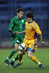 Ales Majer (2)  of Slovenia vs Catalin Doman of Romania during Friendly match between U-21 National teams of Slovenia and Romania, on February 11, 2009, in Nova Gorica, Slovenia. (Photo by Vid Ponikvar / Sportida)