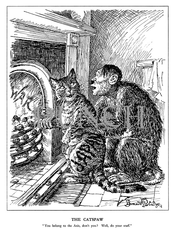 """The Catspaw. """"You belong to the Axis, don't you? Well, do your stuff."""" (the Hitler monkey tests the Japanese cat's loyalty by pushing its paw into the fireplace of War)"""