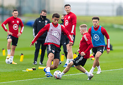 CARDIFF, WALES - Monday, October 5, 2020: Wales' Brennan Johnson (L) during a training session at the Vale Resort ahead of the International Friendly match against England. (Pic by David Rawcliffe/Propaganda)