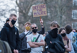 "© Licensed to London News Pictures;30/03/2021; Bristol, UK. A fourth ""Kill the Bill"" protest in Bristol this week takes place against the Police, Crime, Sentencing and Courts Bill during the Covid-19 coronavirus pandemic in England. The Bill proposes new restrictions on protests. Lockdown restrictions have been partly lifted to allow people to gather outdoors socially in households, bubbles, or to meet one person from another household, but the police say protests are not allowed under the current Covid regulations. Photo credit: Simon Chapman/LNP."