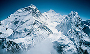 Chomolungma Mt Everest, Lhotse (centre) and Nuptse from summit Pumori, Khumbu Himal, Nepal