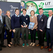 27.04.2016.          <br />  Kalin Foy and Ciara Coyle win SciFest@LIT<br /> Kalin Foy and Ciara Coyle from Colaiste Chiarain Croom to represent Limerick at Ireland's largest science competition.<br /> <br /> Crescent College students, Pearse McMullen, Cian McDonnell and Karl Moloney's project, Exocan won the SFI Space Award.  Pearse McMullen, Cian McDonnell and Karl Moloney are pictured with George Porter, SciFest, Sinead McDonnell, Limerick City and County Council and Brian Aherne, Intel<br /> <br /> Of the over 110 projects exhibited at SciFest@LIT 2016, the top prize on the day went to Kalin Foy and Ciara Coyle from Colaiste Chiarain Croom for their project, 'To design and manufacture wireless trailer lights'. The runner-up prize went to a team from John the Baptist Community School, Hospital with their project on 'Educating the Youth of Ireland about Farm Safety'. Picture: Fusionshooters