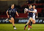 Connacht fly-half Jack Carty looks for support as he breaks from an interception during a European Challenge Cup Quarter Final match in Eccles, Greater Manchester, United Kingdom, Friday, March 29, 2019.  (Steve Flynn/Image of Sport)