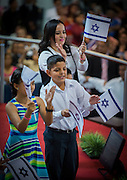 """Sunday services at the Tabernaculo Biblico Bautista - The Baptist Bible Tabernacle - in San Salvador, El Salvador. The church has a long term relationship with the State of Israel and calls itself """"Amigos de Israel"""" or """"Friends of israel"""" hosting the Israeli ambassador to El Salvador and staging a play retelling the story of the founding of the Israeli State."""