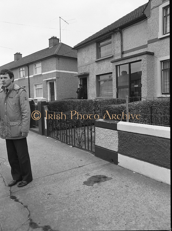 """John O'Grady Rescued By Gardai.   (R67)..1987..05.11.1987..11.05.1987..5th November 1987..After being kidnapped from his home in Cabinteely, Co Dublin, John O'Grady was finally rescued after twenty one days in captivity. he was located in a house inCarnlough Road, Cabra West, Dublin. During his ordeal Mr O""""Grady was mutilated by the kidnappers led by Dessie O'Hare to apply pressure on his family to pay the ransom sought. In an ensuing gun battle with the kidnappers a detective garda was shot and seriously wounded. In the chaos that followed the kidnappers escaped and were not all captured for a further three weeks after a massive manhunt...Picture shows the blood stained path where the detective garda was shot and seriously wounded."""