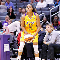 17 June 2014: Los Angeles Sparks guard Lindsey Harding (10) takes a jumpshot during the Minnesota Lynx  94-77 victory over the Los Angeles Sparks, at the Staples Center, Los Angeles, California, USA.