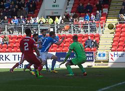 St Johnstone's Thomas Scobbie scoring an OG for Aberdeen's second goal. half  time : St Johnstone 0 v 2 Aberdeen. SPFL Ladbrokes Premiership game played 15/4/2017 at St Johnstone's home ground, McDiarmid Park.