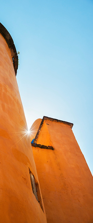 Sunburst peeking through towers at Ex-Hacienda San Gabriel de Barrera in the UNESCO World Heritage city of Guanajuato, Mexico.
