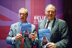 "© Licensed to London News Pictures. 17/06/2015. London, UK. UKIP leader NIGEL FARAGE and UKIP MEP William Dartmouth launching ""The Truth About Trade Beyond The EU"" pamphlet in central London, on Wednesday, June 17, 2015. Photo credit: Tolga Akmen/LNP"