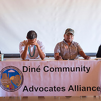 053013       Cable Hoover<br /> <br /> Panel members participate in a discussion during a Diné Community Advocates Alliance food forum at Diné College in Tsaile Thursday.