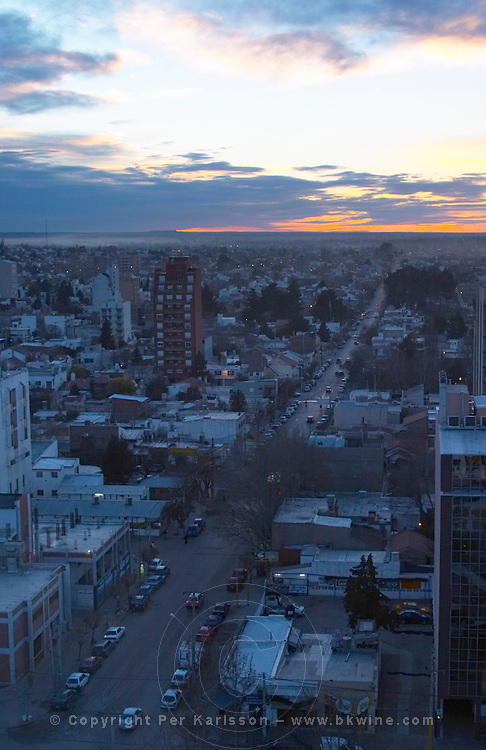 Sunset view over the city bird's eye Neuquen, Patagonia, Argentina, South America