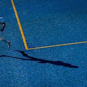 Grossmont College's Alexander Templeton (95) runs through the end zone during Grossmont's 30-23 win against Santa Ana College. Nov 8, 2014, Santa Ana, CA.