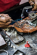 INDONESIA, Central Java, silver jewel artisan in the outskirt of Yojakarta