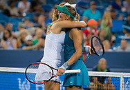 Ekaterina Makarova of Russia and Lucie Hradecka of the Czech Republic in action during the doubles final of the 2018 Western and Southern Open WTA Premier 5 tennis tournament, Cincinnati, Ohio, USA, on August 18th 2018, Photo Rob Prange / SpainProSportsImages / DPPI / ProSportsImages / DPPI