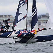 NEWPORT, RHODE ISLAND- OCTOBER 22:  The Great British team of Morgan Peach and Owen Bowerman in action during the Red Bull Foiling Generation World Final 2016 on October 22, 2016 in Narragansett Bay, Newport, Rhode Island. (Photo by Tim Clayton/Corbis via Getty Images)