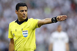 referee Alireza Faghani during the 2018 FIFA World Cup Russia group F match between Germany and Mexico at the Luzhniki Stadium on June 17, 2018 in Moscow, Russia