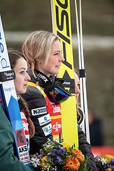 02.02.2019, Energie AG Skisprung Arena, Hinzenbach, AUT, FIS Weltcup Ski Sprung, Damen, Siegerehrung, im Bild v.l. Juliane Seyfarth (GER), Maren Lundby (NOR) // during the winner Ceremony of FIS Ski Jumping World Cup at the Energie AG Skisprung Arena in Hinzenbach, Austria on 2019/02/02. EXPA Pictures © 2019, PhotoCredit: EXPA/ Reinhard Eisenbauer