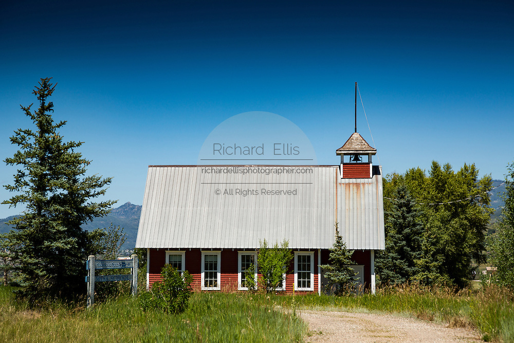 The old Mesa School historic schoolhouse in Steamboat Springs, Colorado. The school was constructed in 1916 and used as a school until 1959.