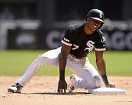 CHICAGO - MAY 14:  Tim Anderson #7 of the Chicago White Sox steals second base against the Cleveland Indians on May 14, 2019 at Guaranteed Rate Field in Chicago, Illinois.  (Photo by Ron Vesely)  Subject:  Tim Anderson
