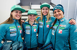 Ski Jumpers Ursa Bogataj, Spela Rogelj, Katja Pozun and Maja Vtic during press conference of Slovenian Nordic Ski team before new season 2017/18, on November 14, 2017 in Gorenje, Ljubljana - Crnuce, Slovenia. Photo by Vid Ponikvar / Sportida