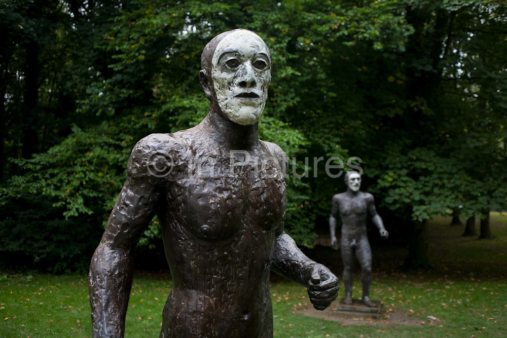 Two of three figures by artist Elisabeth Frink at the Yorkshire Sculpture Park. Frink was a leading figure in British sculpture. She studied at the Chelsea School of Art from 1949-1953 and was part of the post-war group of British sculptors, which included Kenneth Armitage and Eduardo Paolozzi, who became known as the Geometry of Fear school.