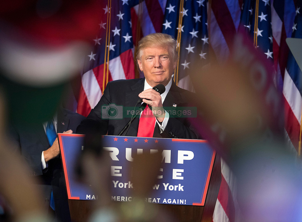 Nov 9, 2016 - New York, New York, U.S. - President-elect DONALD TRUMP speaks to supporters at the Election Night Party at the Hilton Midtown Hotel. (Credit Image: © J. Conrad Williams Jr./Newsday/TNS via ZUMA Wire)