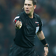 Referee's Firat AYDINUS during their Turkish superleague soccer derby match Galatasaray between Fenerbahce at the Turk Telekom Arena in Istanbul Turkey on Friday, 18 March 2011. Photo by TURKPIX