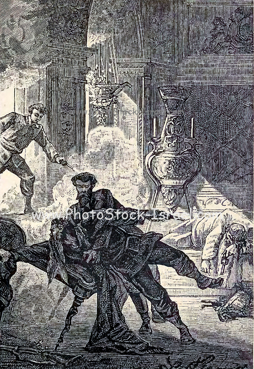"""Max and Otto fighting the giants from The Begum's Fortune (French: Les Cinq cents millions de la Bégum, literally """"the 500 millions of the begum""""), also published as The Begum's Millions, is an 1879 novel by Jules Verne, with some utopian elements and other elements that seem clearly dystopian. It is noteworthy as the first published book in which Verne was cautionary, and somewhat pessimistic about the development of science and technology.. Translated by W.H.G. Kingston in 1860 Published in Philadelphia by J. B. Lippincott and Co."""