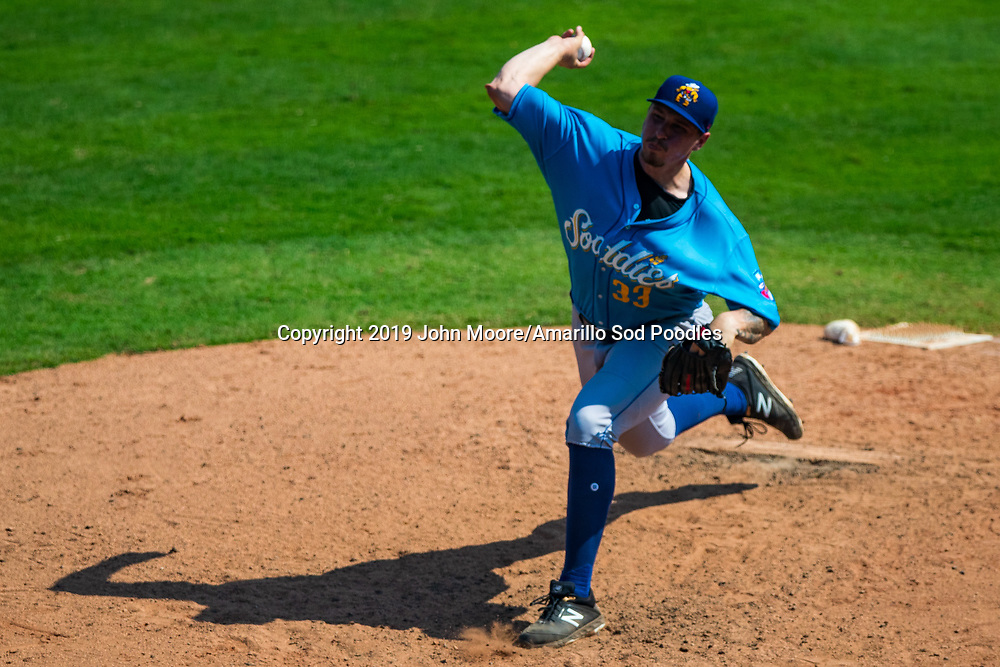 Amarillo Sod Poodles pitcher Lake Bachar (33) pitchers against the Tulsa Drillers during the Texas League Championship on Sunday, Sept. 15, 2019, at OneOK Field in Tulsa, Oklahoma. [Photo by John Moore/Amarillo Sod Poodles]
