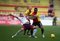 Hearts Faycal Rherras and Partick Thistle's David Amoo. Partick Thistle 1 v 2 Hearts, Ladbrokes Premiership match played 27/89/2016 at Firhill.