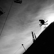 Forrest Jillson grabs a quick inbounds air at Jackson Hole Mountain Resort.