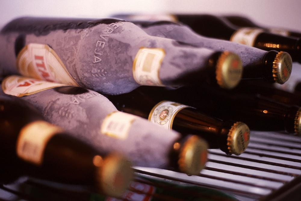 Carmo da Cachueira_MG, Brasil...Detalhe de garrafas de cervejas em uma geladeira...Bottles beer detail in the fridge...Foto: LEO DRUMOND / NITRO