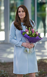 © London News Pictures. 19/01/2015. London, UK. A pregnant Catherine, Duchess of Cambridge wearing baby blue as she holds a bouquet of flowers while leaving after formally opening Kensington Leisure Centre in West London. Photo credit: Ben Cawthra/LNP