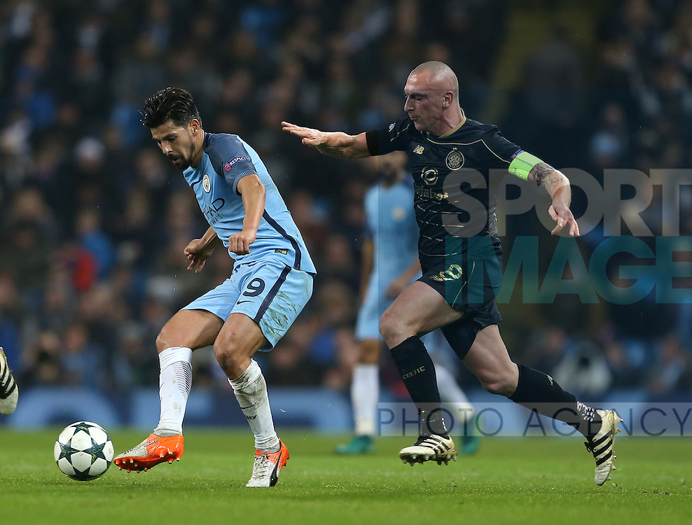 Nolito of Manchester City shadowed by Scott Brown of Celtic during the Champions League Group C match at the Etihad Stadium, Manchester. Picture date: December 6th, 2016. Pic Simon Bellis/Sportimage