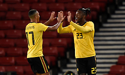 Belgium's Michy Batshuayi celebrates scoring his side's fourth goal of the game with team mate Youri Tielemans during the International Friendly at Hampden Park, Glasgow.