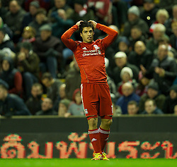 10.12.2011, Anfield Stadion, Liverpool, ENG, PL, FC Liverpool vs Queens Park Rangers, 15. Spieltag, im Bild Liverpool's Luis Alberto Suarez Diaz looks dejected during the Premiership match against Queens Park Rangers at Anfield the football match of English premier league, 15th round, between FC Liverpool and Queens Park Rangers at Anfield Stadium, Liverpool, United Kingdom on 2011/12/10. EXPA Pictures © 2011, PhotoCredit: EXPA/ Propagandaphoto/ David Rawcliff..***** ATTENTION - OUT OF ENG, GBR, UK *****