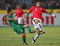 v.l. Mohammed El Yaagoubi, Aly Abou Elyazid Sallam Mohamed Shawky Aegypten                 <br /> Africa Cup 2006 Aegypten - Marokko<br /> Egypt - Marokko<br /> Norway only