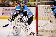 19 February, 2006 - Anchorage, AK:  Matt Underhill, Aces goalie, watches the action in the corner as the Alaska Aces take a overtime victory, 3-2 against the visiting Long Beach IceDogs at the Sullivan Arena.