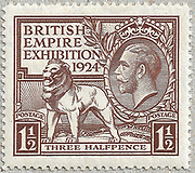 """1924 British Empire Exhibition """"Wembley"""" Stamps (Great Britain, King George V) Three halfpence Brown Designed by H. Nelson. Printing plates engraved by J. A. C. Harrison. Printed by Waterlow and Sons."""