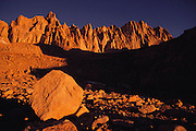 Mount Whitney, at 14,496 feet high, is the tallest mountain in the continental United States. It is one of the most frequently climbed mountains in the US. Route 395: Eastern Sierra Nevada Mountains of California.