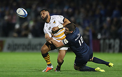 Leinster's Jonny Sexton tackles Lima Sopoaga of Wasps during the Champions Cup match at the RDS Arena, Dublin.