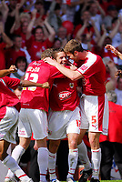 Photo: Leigh Quinnell.<br /> Bristol City v Rotherham United. Coca Cola League 1. 05/05/2007. Alex Russell celebrates getting the third goal for Bristol City with Jamie McCombe(r) and Brian Wilson(L)